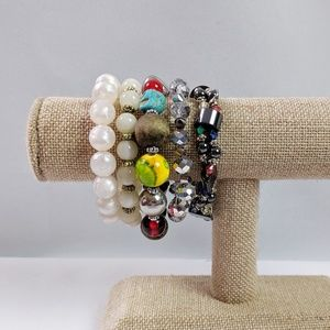 5 Beaded Stretch Bracelets Natural Stone Included